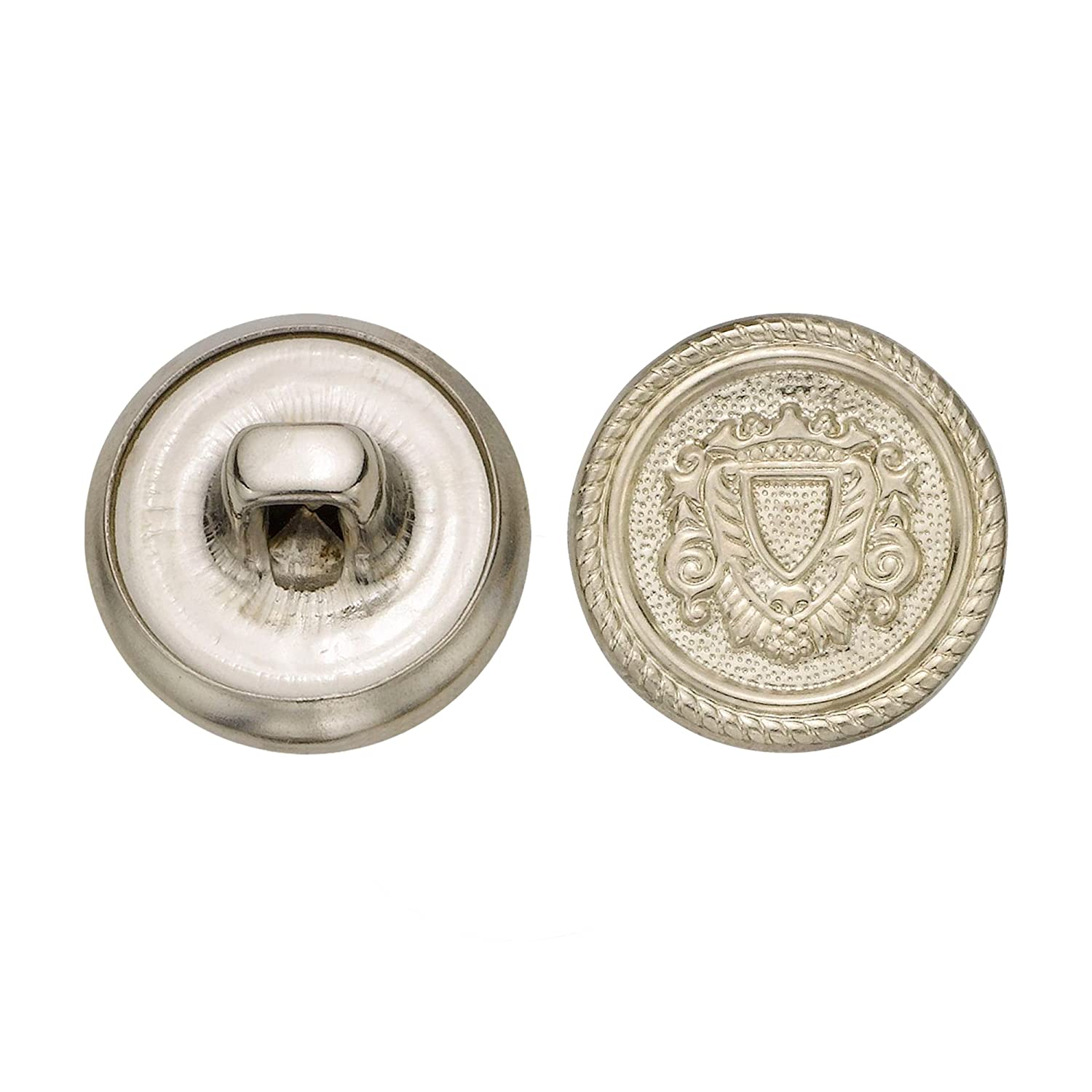 Size 24 Ligne Nickel 72-Pack C/&C Metal Products Corp C/&C Metal Products 5158 Rope Rim Crest Metal Button