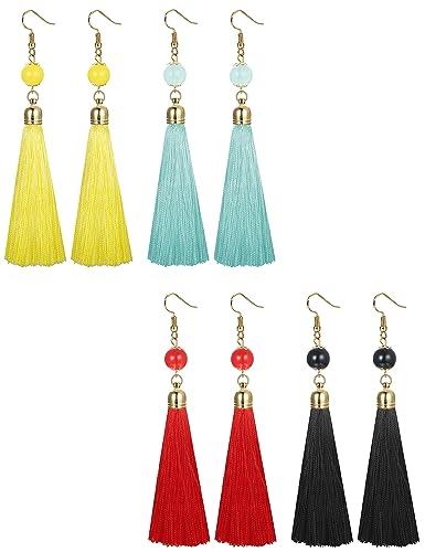 Dangle Earring Womens Girls Beads Handmade Tiered Long Thread Tassel Fashion Jewelry Navy Blue