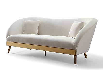Amazon.com: TOV muebles tov-l6127 sofá de terciopelo, crema ...