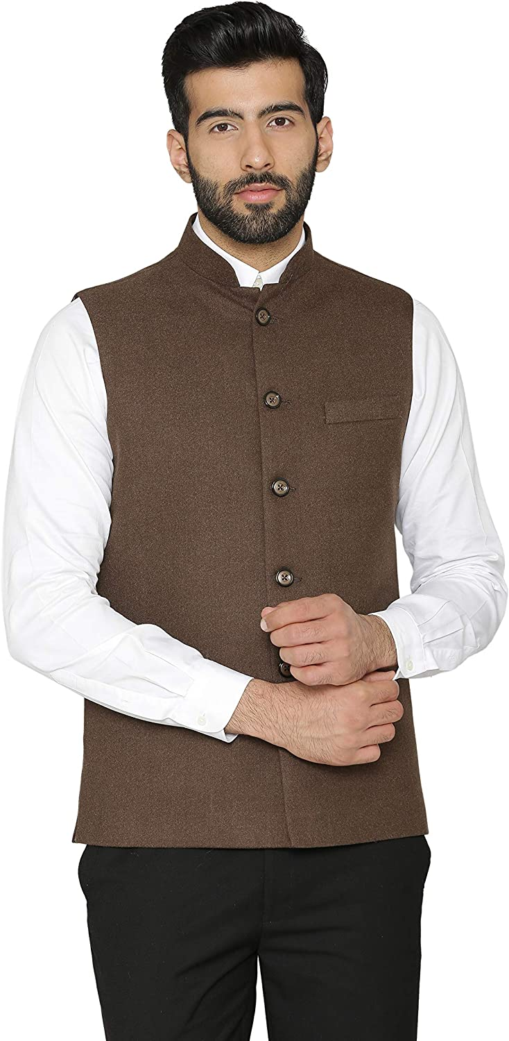 WINTAGE Men's Tweed Wool Festive and Casual Nehru Jacket Vest Waistcoat : Multiple Colors
