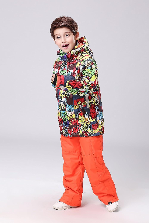 2018 Boys 3D Super Hero Attractive Pattern Mountain Waterproof Snow Ski Jacket