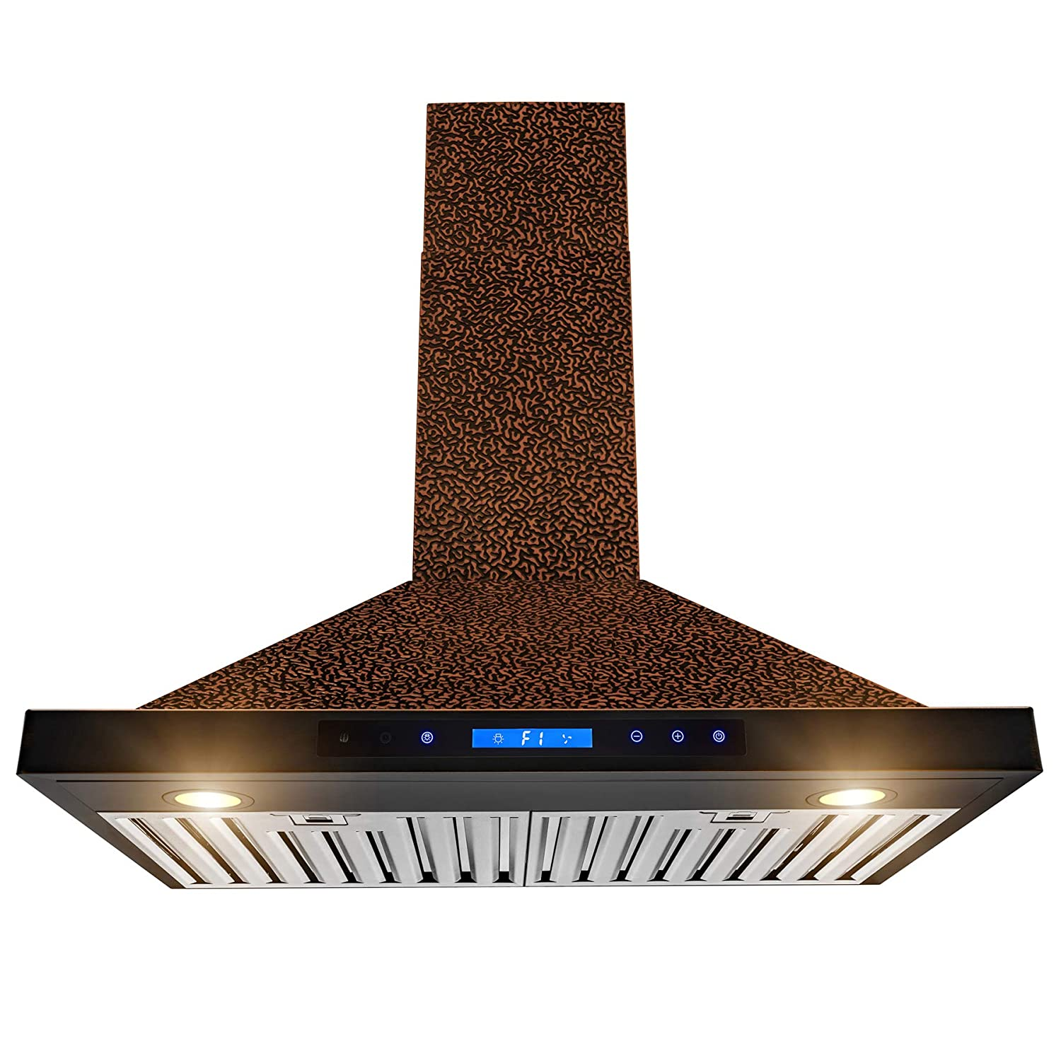 "AKDY Wall Mount Range Hood –30"" Embossed Copper Hood Fan for Kitchen – 4-Speed – Remote Control – Professional Quiet Motor – Touch Control Panel – Modern Design – Dishwasher-Safe Baffle Filters"
