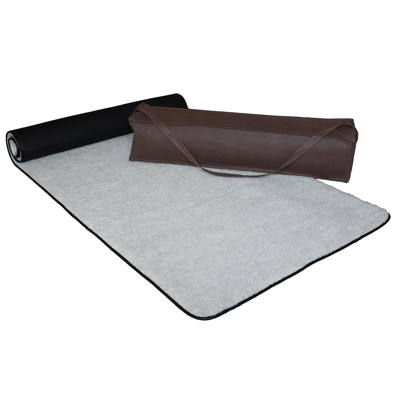 SamWo, Premium Yogamatte Natur Hellgrau 100% Merinowolle, Oberseite Schafschurwolle vom lebenden Schaf, Unterseite Rutschfest inkl. Tasche, Größe: 200x80 cm HGR