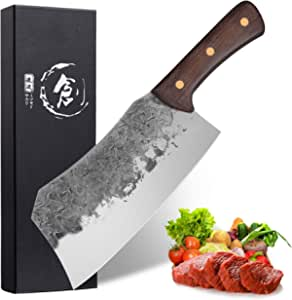 Professional Cleaver Knife 7.3 Inch Handmade Meat Cleaver High Carbon Steel Full Tang Chef Knife Butcher Knives for Home Kitchen or Restaurant
