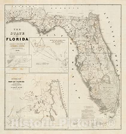 Detail Map Of Florida.Amazon Com Historic Map 1846 State Flag Map Of Florida Including
