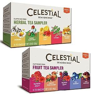 Celestial Seasonings Herbal Tea Flavor Bundle: 2 Boxes; Herbal Tea Sampler, Fruit Tea Sampler