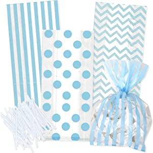 100 Light Blue Cellophane Bags with Twist Ties for Baby Shower Boy Favor Goodie Bags in Polka Dot, Stripes and Chevron Design