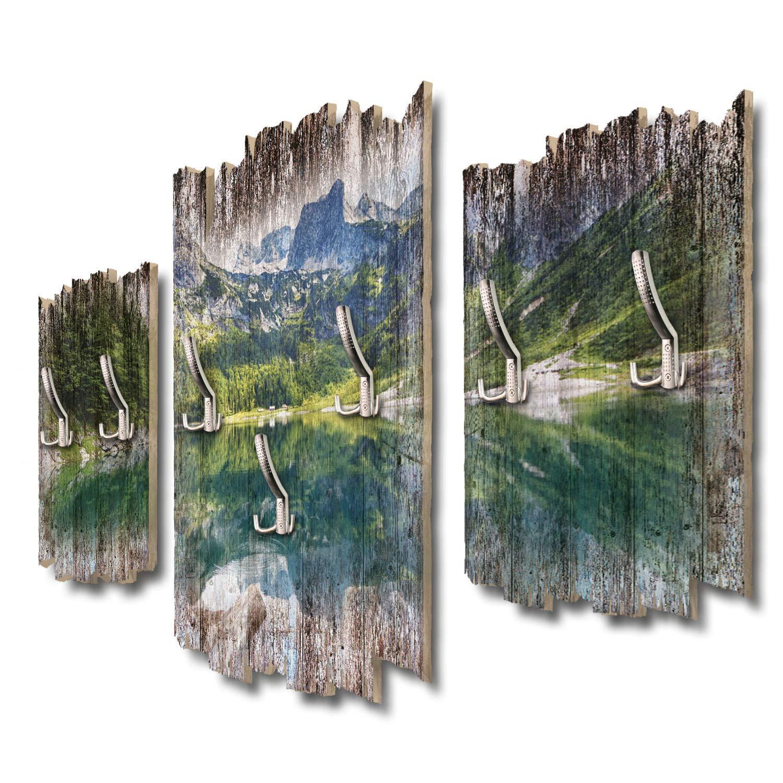 Kreative Feder Bergseepanorama Designer Wandgarderobe Flurgarderobe Wandpaneele 95 x 60 cm aus MDF DTGH047