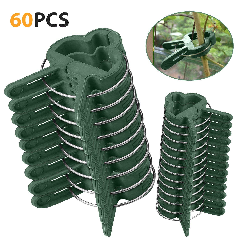 Clip de jardí n 60 pcs - Mopalwin Planta de jardí n & flor clips reutilizable jardí n planta, verduras y flores, patio apoyo clips de fijació n, para plantas tallos Grow Vertical (30 pequeñ as+30 grandes)