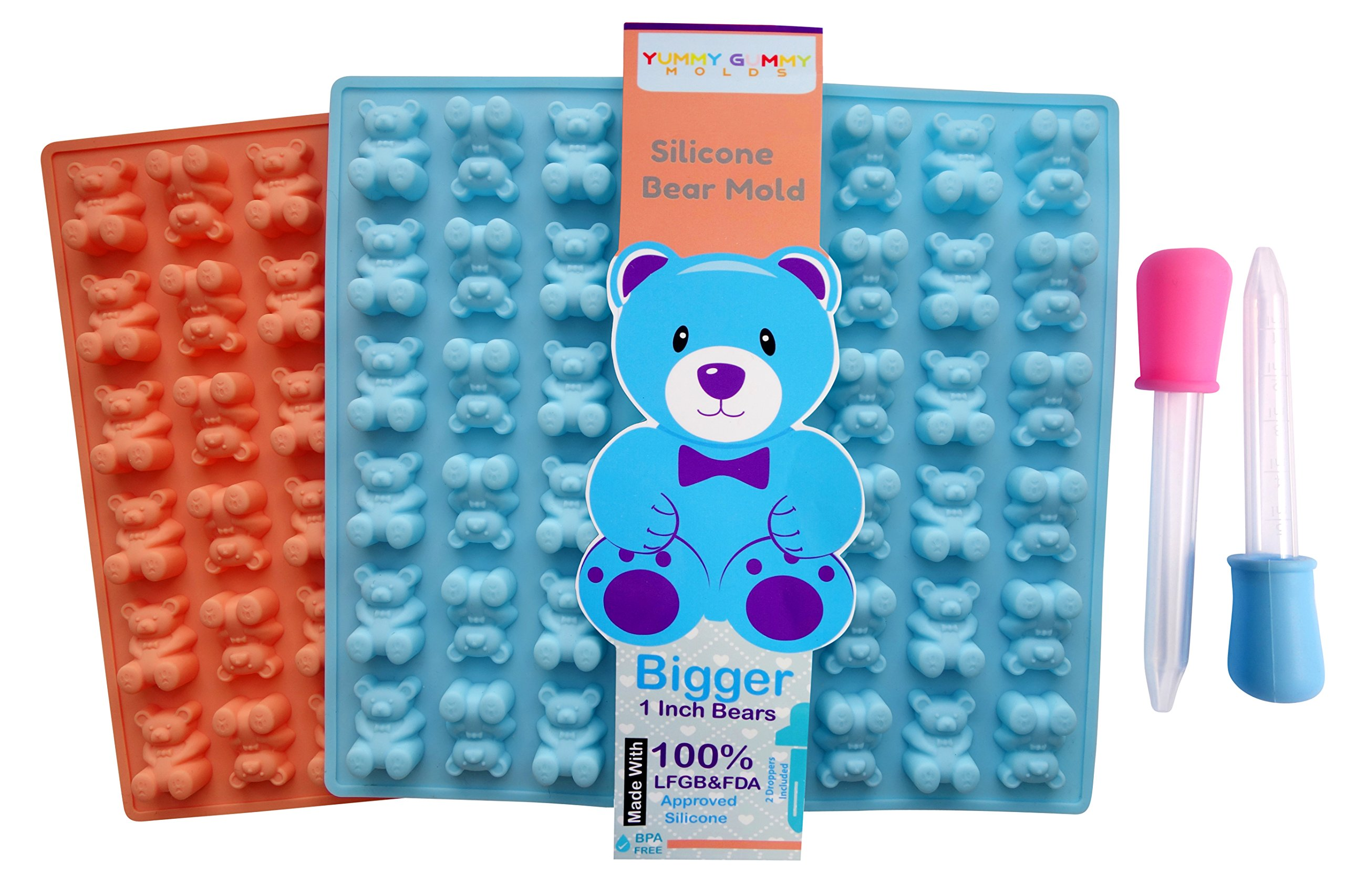 LARGER Bears Silicone Gummy Molds 2 Pack - BPA Free, LFGB/FDA Approved, Unique Design, Perfect for Homemade Gelatin Gummies, Candies, Chocolate, Ice Cubes, Recipe and 2 Bonus Droppers Included