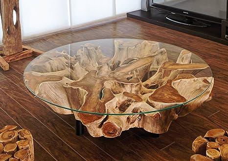Tavoli Con Tronchi Di Legno.Mobel Bressmer Design Radice Legno Tavolino Naga A Mano Piatto 100 Cm Vetro Massiccio Tronco D Albero Teak Radice Tavolo Da Salotto