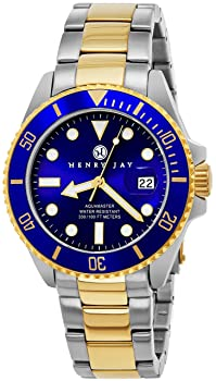 Henry Jay Mens 23K Gold Plated Specialty Aquamaster Professional Dive Watch