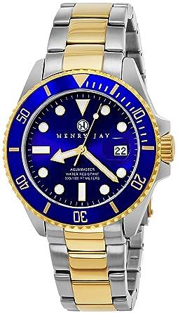 40bd2bb1b70983 Montre de plongée professionnelle Henry Jay pour homme en acier inoxydable  plaque or deux tons 23K