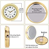 ShoppeWatch Mini Clock Insert Quartz Movement Round 1 7/16 (35mm) Miniature Clock Fit Up White Dial Gold Tone Bezel Arabic Numerals CK094GD