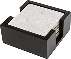 Thirstystone Travertine Drink Coasters with Wood Holder Included, Multicolor