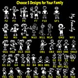 Choose 5 Figures from 48 Unique Designs - TOTOMO Stick Figure My Family Car Stickers with Pet Dog Cat Fish Rabbit Bird Family Car Decal Sticker for Windows Bumper