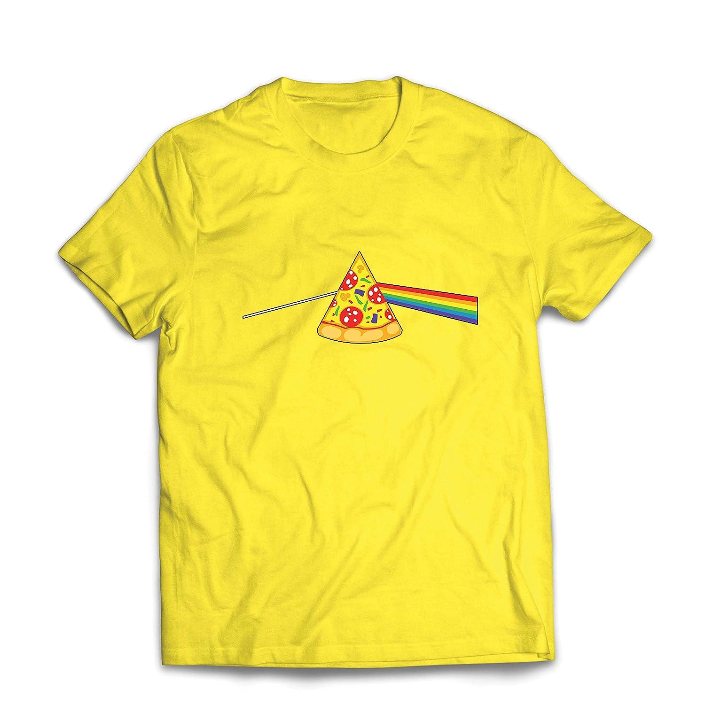 lepni.me Maglietta da Uomo Pizza in Umore colorato Arcobaleno Progettazione Cibo Amante