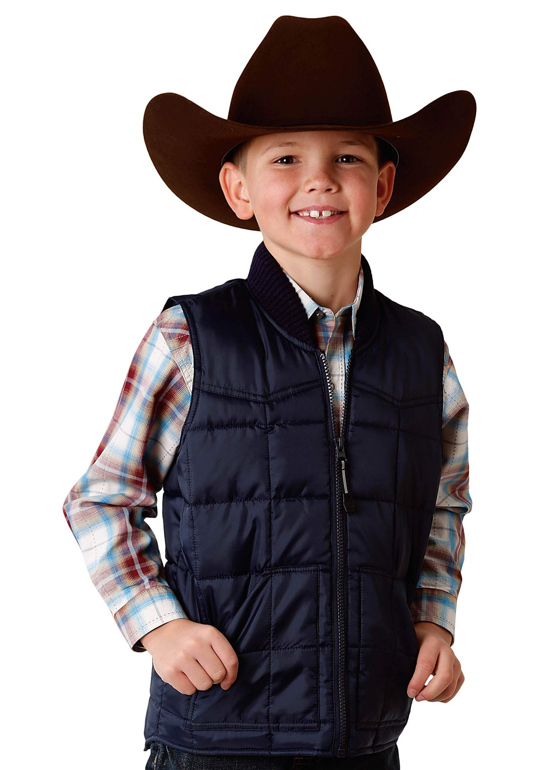 Roper Boys' Outerwear Rangegear Down Vest 0763-0525, Navy - X-Small by Roper