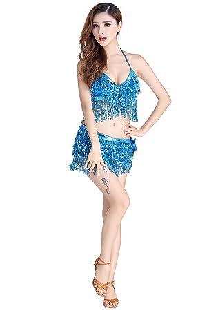 911d873384e Hougood Latin Kleider für Damen Bauchtanz Kostüm Latin Indian Bauchtanz  Pailletten BH Top + Sexy Rock