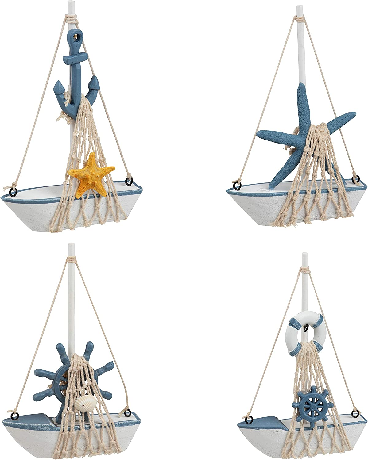 Juvale Mini Sailboat Model Decoration - 4-Piece Wooden Miniature Sailing Boat Home Decor Set, Beach Nautical Design, Navy Blue and White, 4.4 x 6.8 x 1.25 Inches