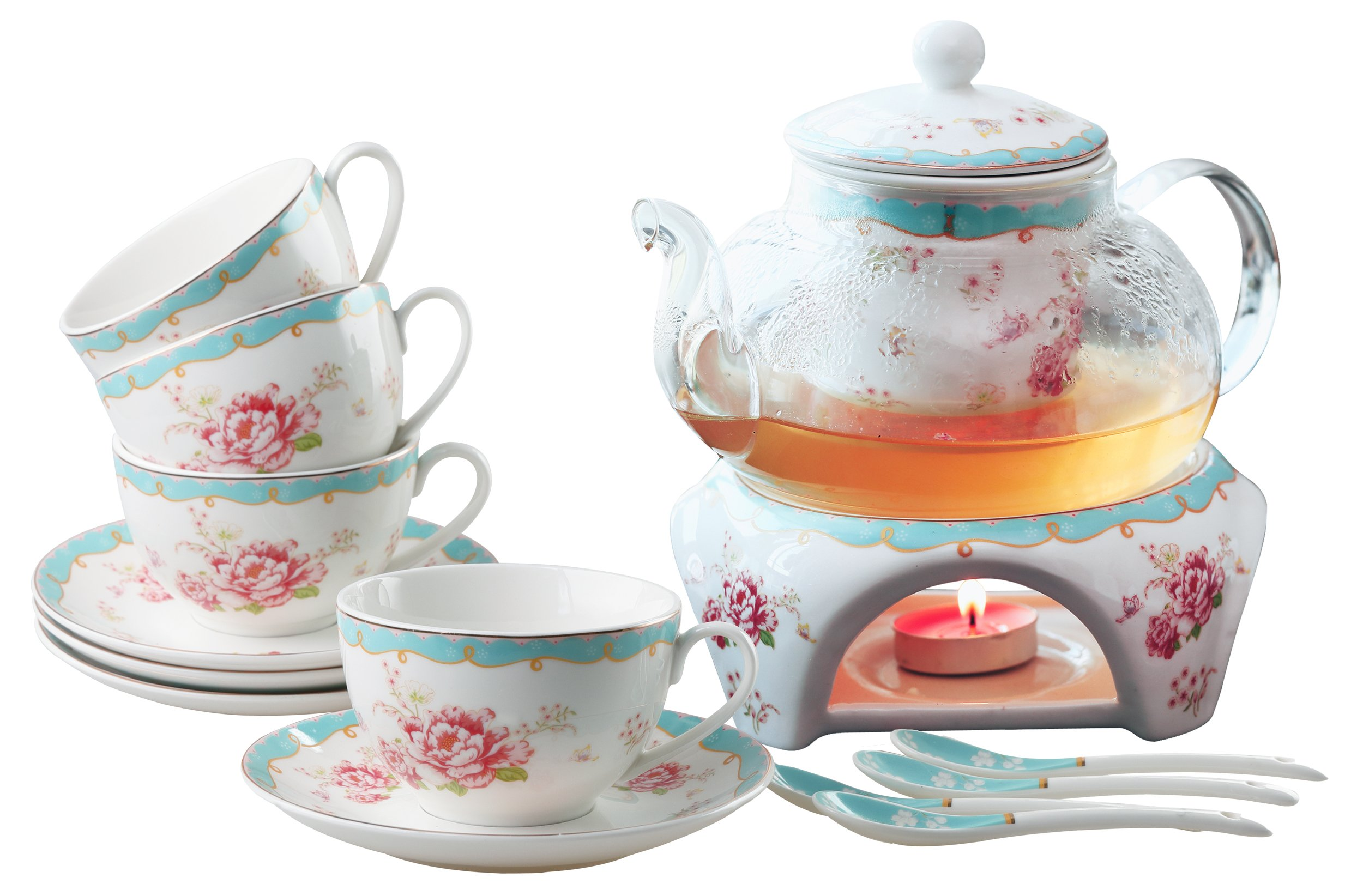 Jusalpha Fine China Vintage Rose Flower Series Coffee Cup-Teacup Saucer Spoon Set with Teapot Warmer & Filter (Rose Glass pot 03)