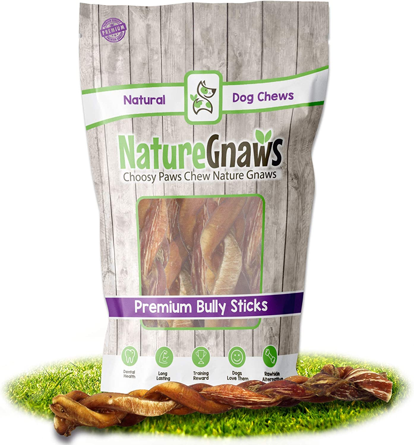 Nature Gnaws Braided Bully Sticks for Large Dogs - Premium Natural Beef Bones - Long Lasting Dog Chew Treats for Aggressive Chewers - Rawhide Free - 12 Inch