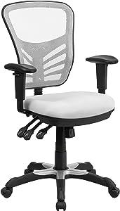 Flash Furniture White Mid-Back Mesh Chair