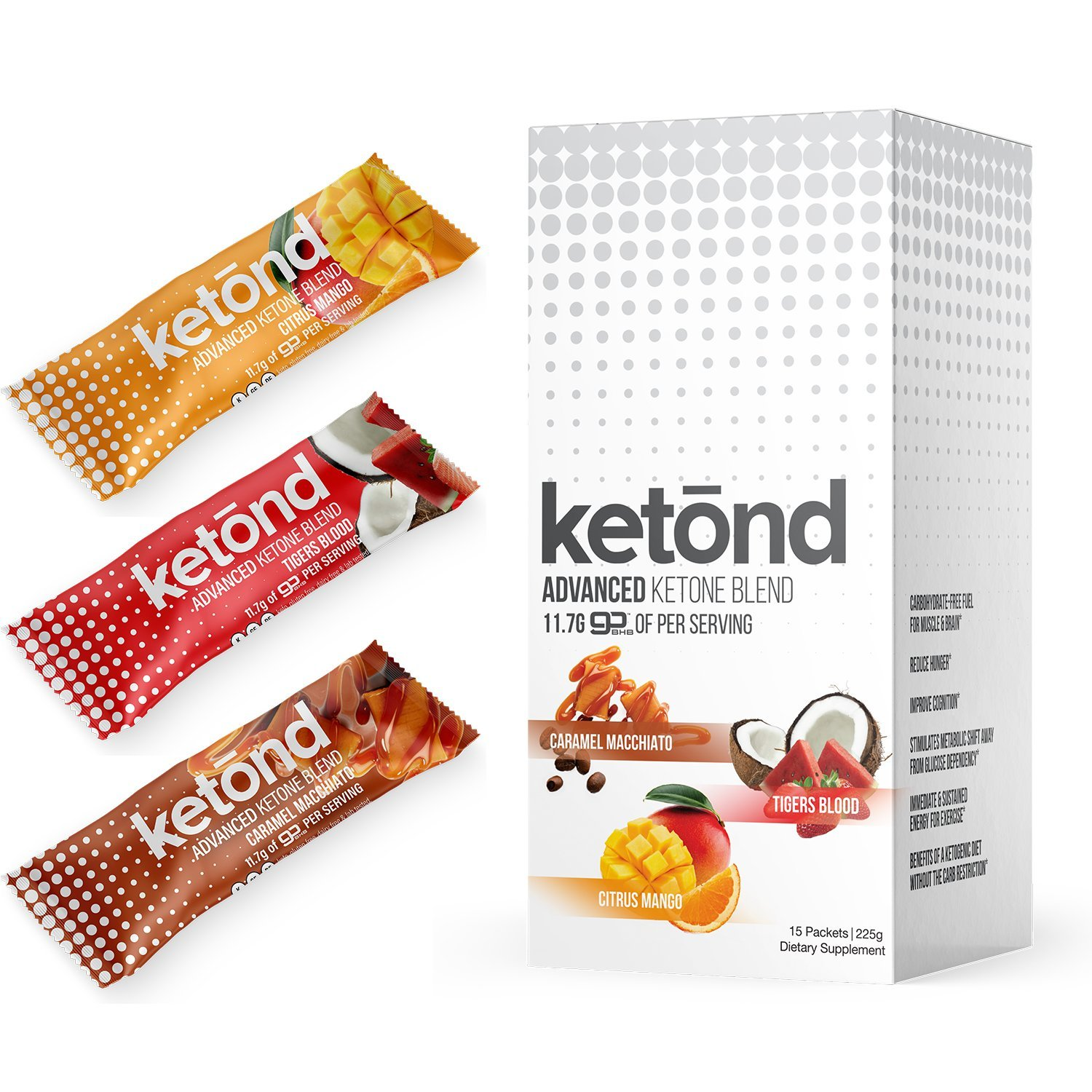 Ketond Advanced Ketone Supplement - 15 'On the Go' Packs - Exogenous Ketone Supplement 11.7g of BHB (Beta-Hydroxybutyrate) Salts to Lose Weight (Caramel Macchiato, Tigers Blood, Citrus Mango)