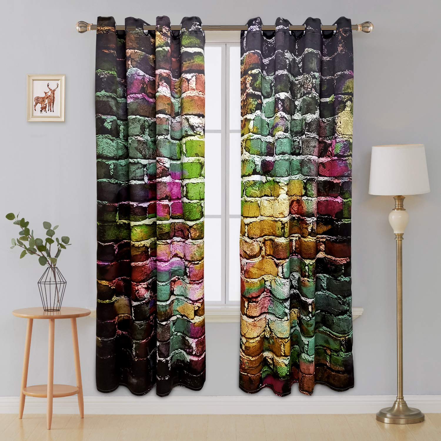 Amazon.com: Riyidecor Colorful Brick Blackout Curtains Graffiti Wall ...