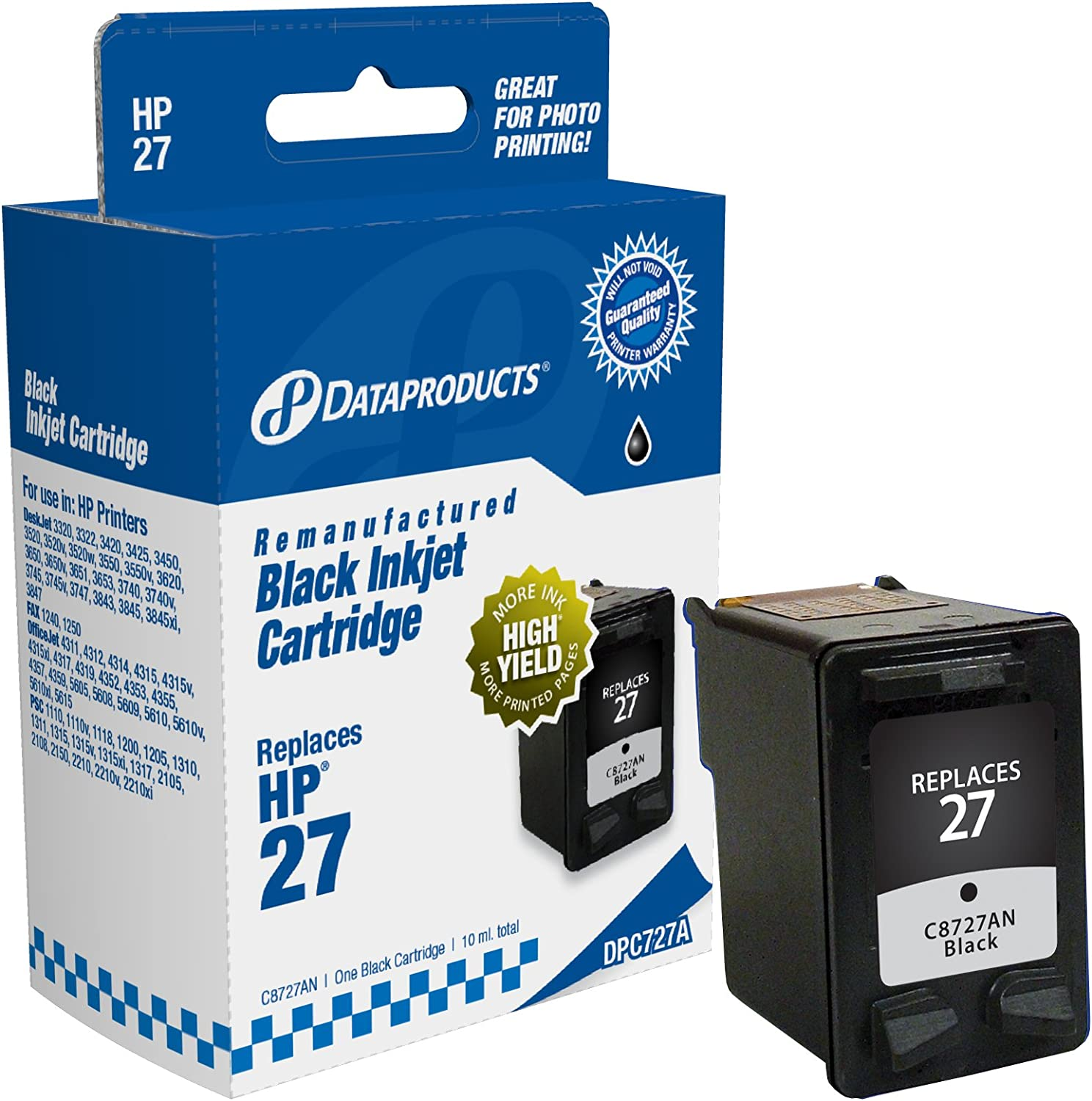 Dataproducts DPC727A Remanufactured Ink Cartridge Replacement for HP #27 (C8727AN) (Black)