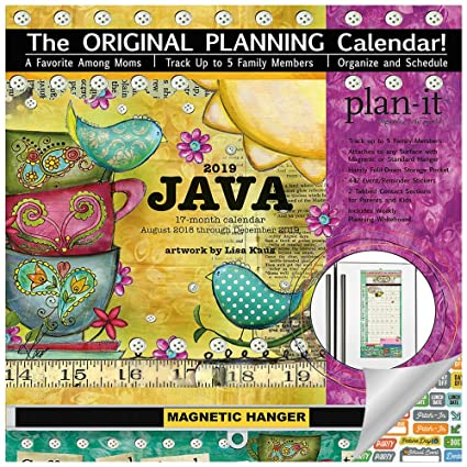 2019 Family Plan It Wall Calendar with Pockets for Each Month - 2019 Java  Coffee Family Plan-It Wall Calendar Bundle with Magnetic Hanger, Planning
