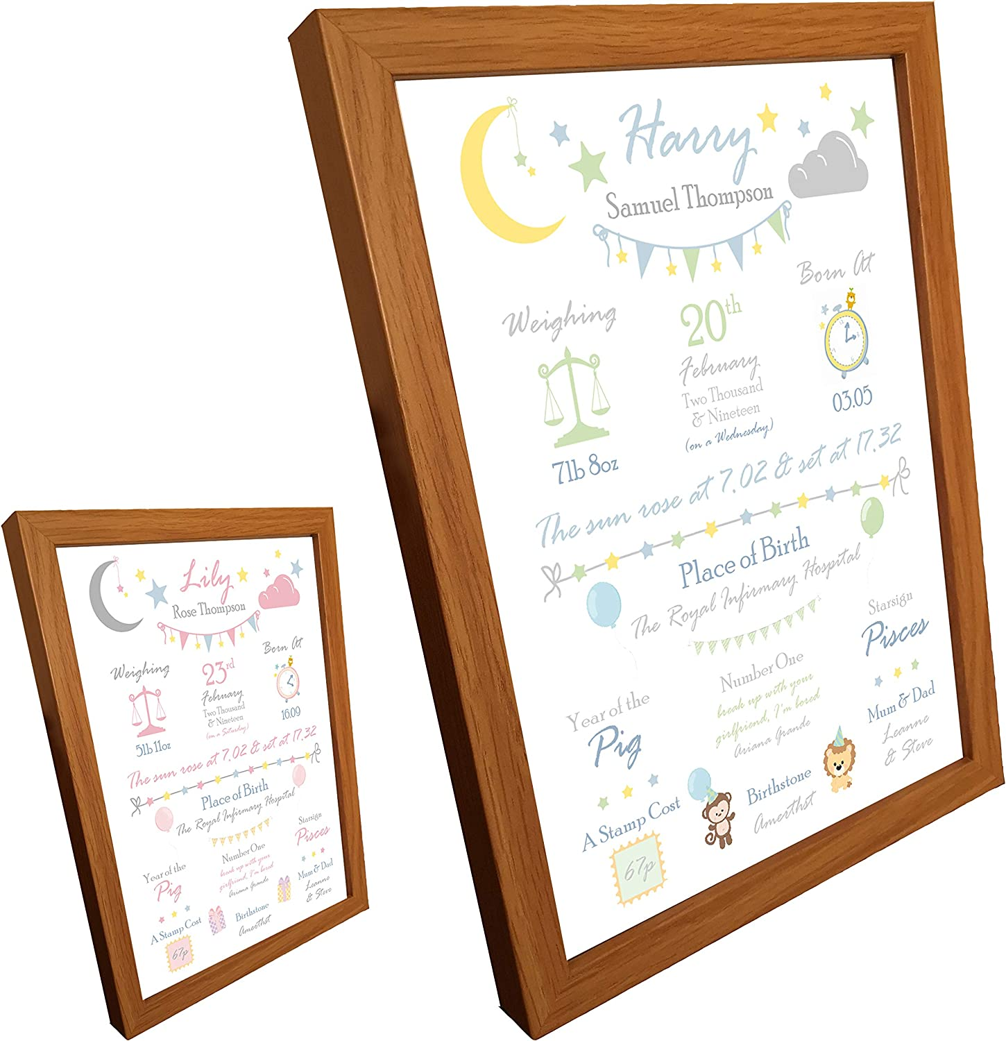 Framed A2 Personalised New Born Baby Birth Print Details Nursery Gift Picture Poster