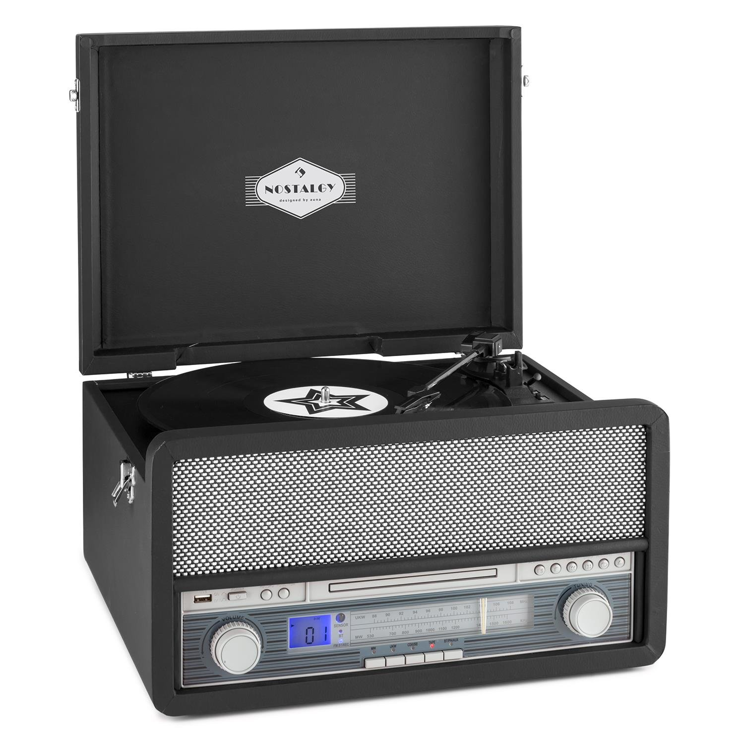 auna Epoque tocadiscos minicadena retro con Bluetooth USB radio FM AM reproductor