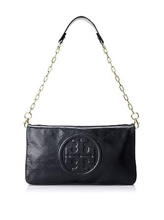 d6e37562e665 Tory Burch Bombe Reva Black Leather Clutch   Shoulder Bag  Amazon.co.uk   Clothing