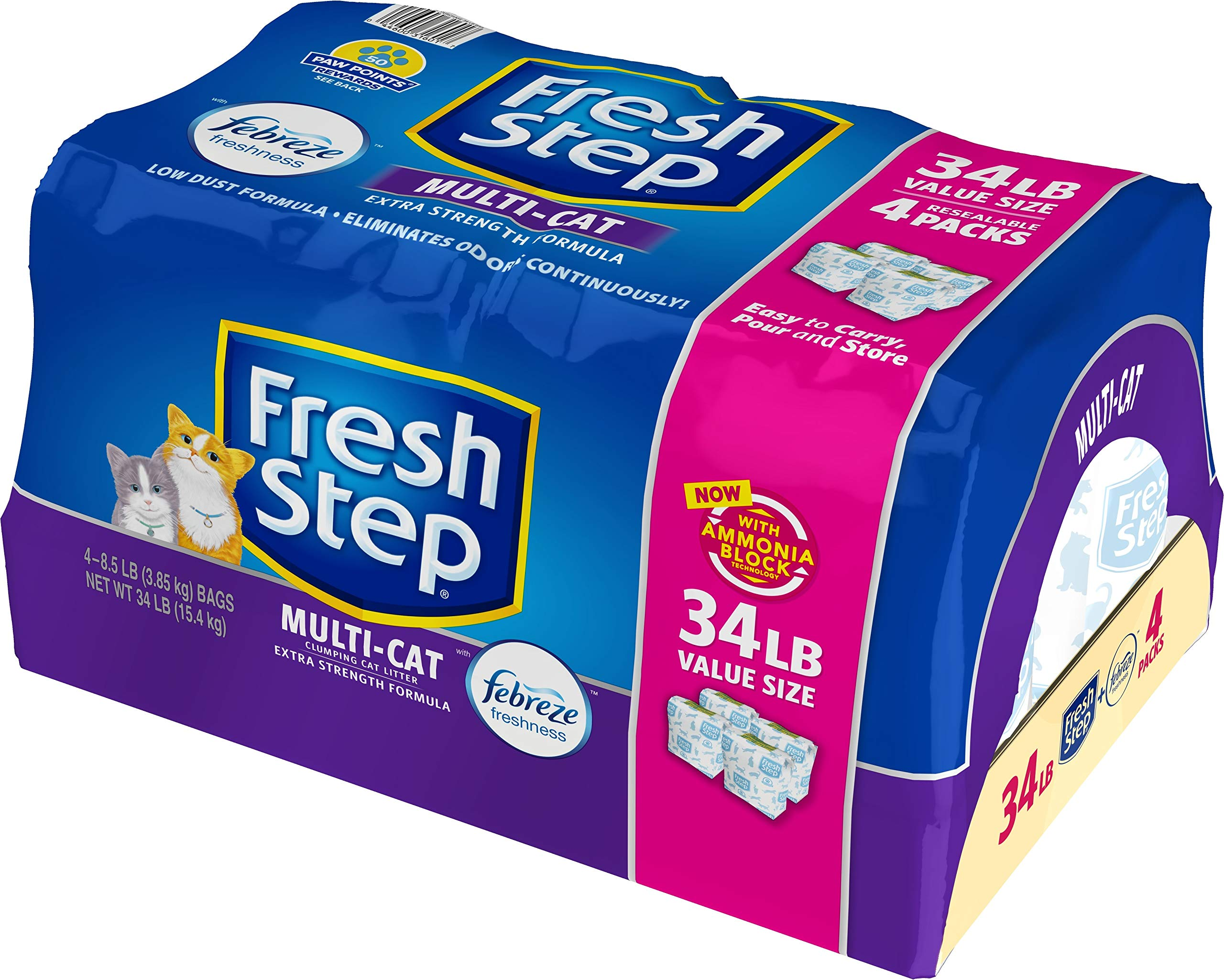 Fresh Step Multi-Cat Scented Litter with the Power of Febreze, Clumping Cat Litter, 34 Pounds by Fresh Step