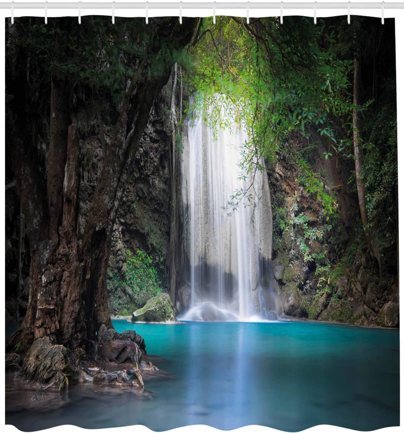 Fabric Bathroom Decor Set with Hooks Turquoise Brown Fern Green 70 Inches Surreal Scene Deep Down in Rainforest with Waterfall Idyllic Image Ambesonne Nature Shower Curtain