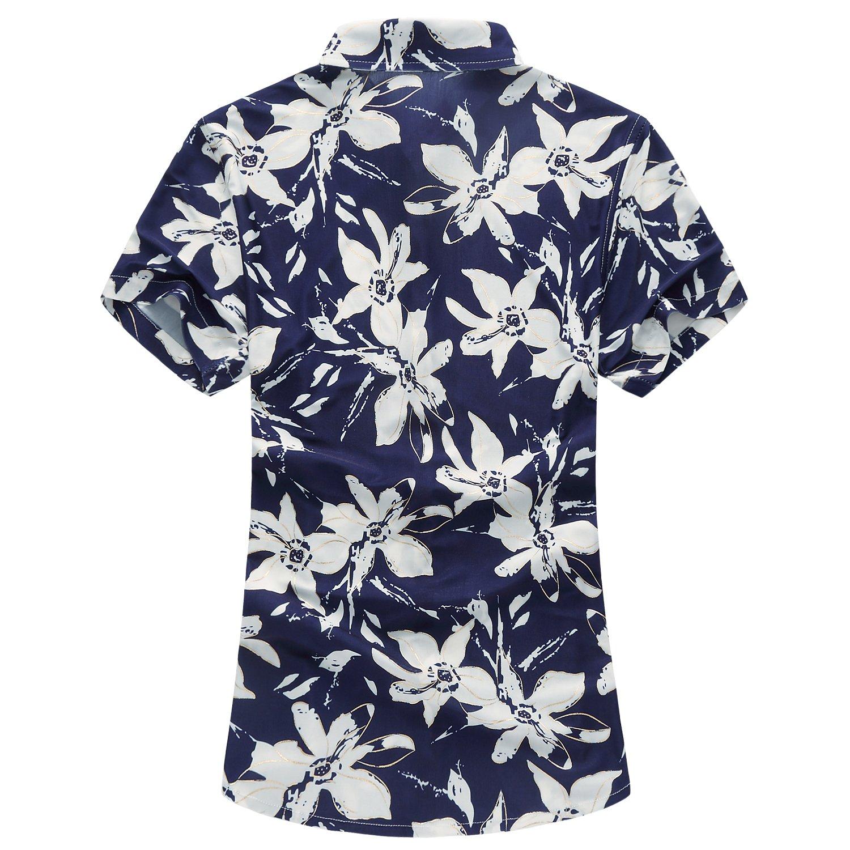 MOGU Camisa Estampada de Manga Corta Hawaiana de la Nueva Moda de los Hombres PFRRsBPKx