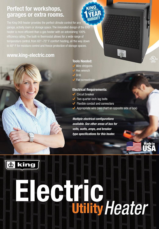 King Ekb2450tb 240 Volt 5000 Watt Garage Heater Electric Thermo Erc Tc Unit Wiring Schematic Diagram Manual
