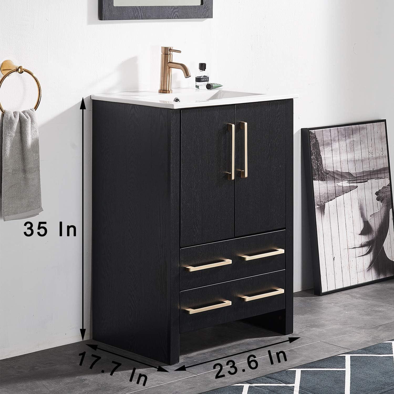24 Inch Black Wood Grain Bathroom Vanity Sink Combo,Bath Vanity with Sink Single Bathroom Vanity Cabinet with Ceramic Sink,Modern Bathroom Vanity Set with 1 Shelf 2 Drawers