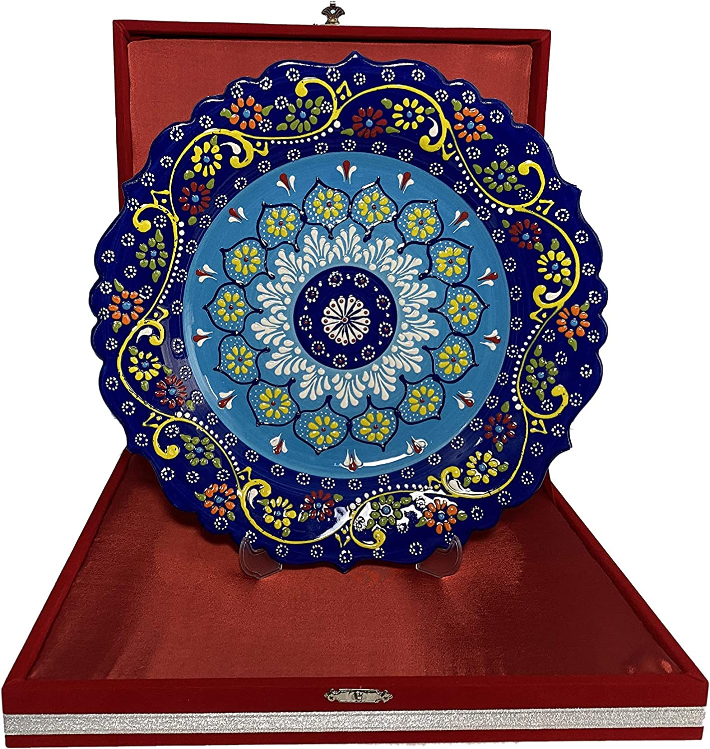 SCCM Porcelain Handmade Decorative Charger Plates for Display with Stand and Velvet Box Decorative Plates for Wall Hanging Home & Kitchen Decor Gifts (12.2 inch (31cm), Cerulean & Navy Blue)