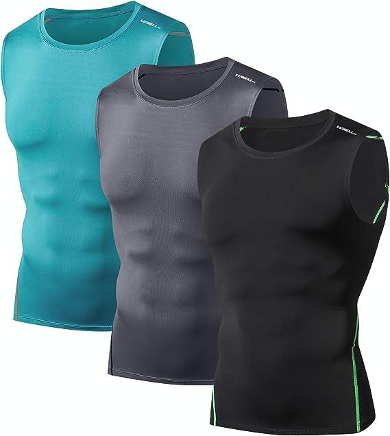 Palestra Basket LUWELL PRO Magliette a Compressione per Uomo Quick Dry 3 Pack Canotte T Shirt Canotta da Running da Uomo per Allenamento