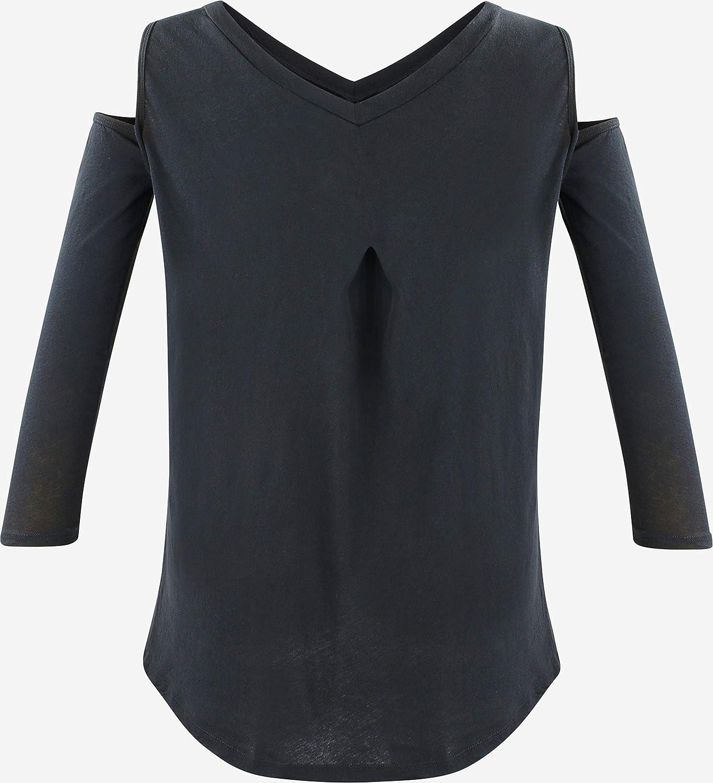 trueprodigy Casual Mujer Marca Camiseta Manga Larga Basico Ropa Retro Vintage Rock Vestir Moda Cuello V Slim Fit Designer Fashion Shirt