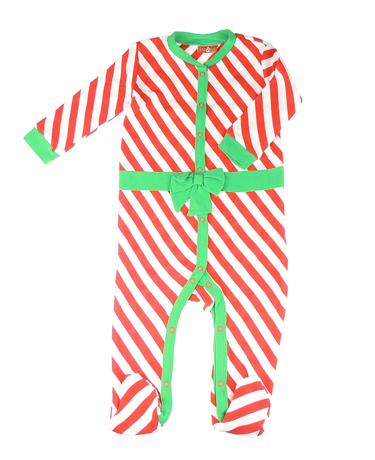 Festive Christmas Winter Baby Girls Boys Romper Sleeper All in One Red White Green Candy Cane Stripe Bow 0-3 Months Glamour Girlz