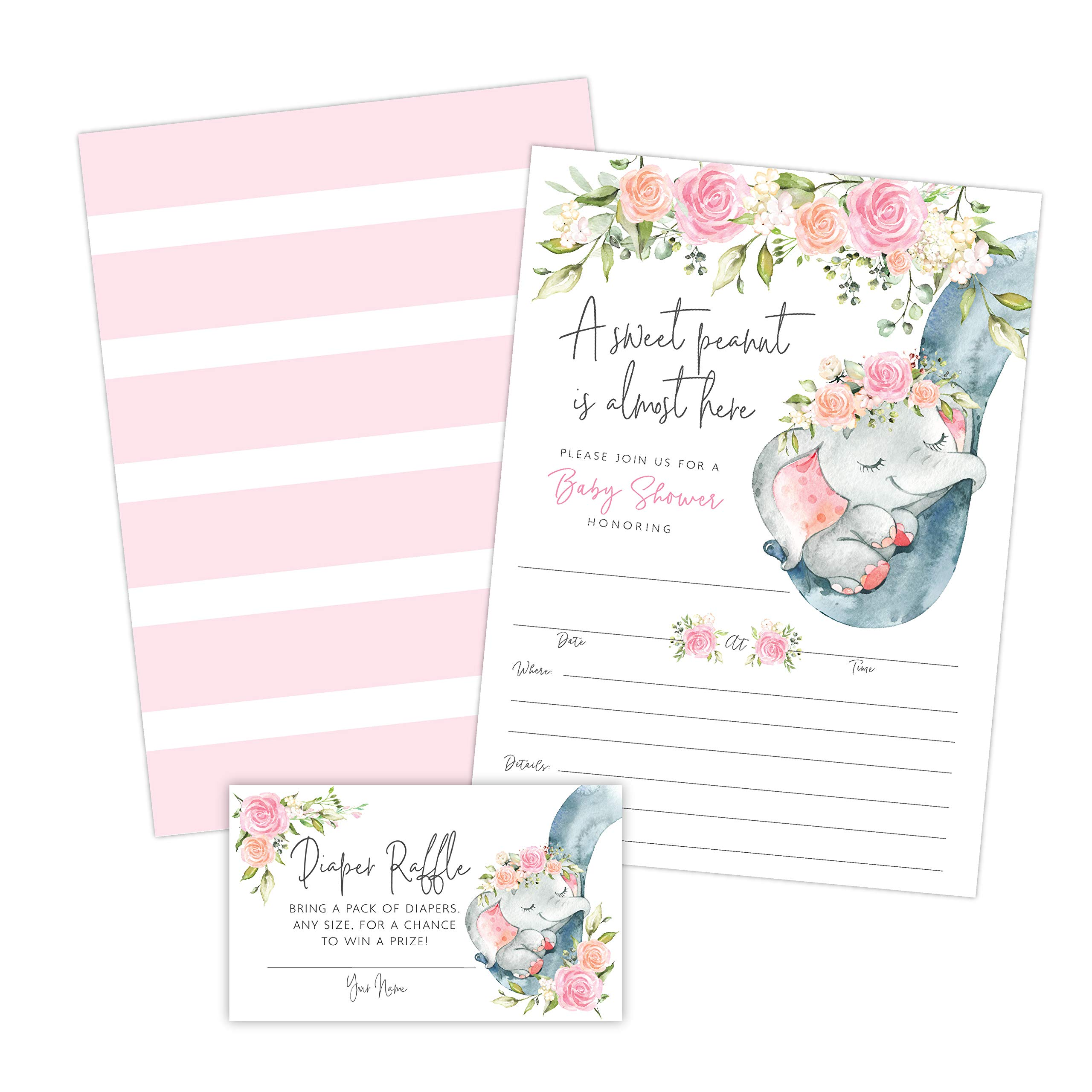 Elephant Girl Baby Shower Invitations, Peanut Baby Shower Invites with Diaper Raffles Cards, Sprinkle, 20 Invites Including Envelopes