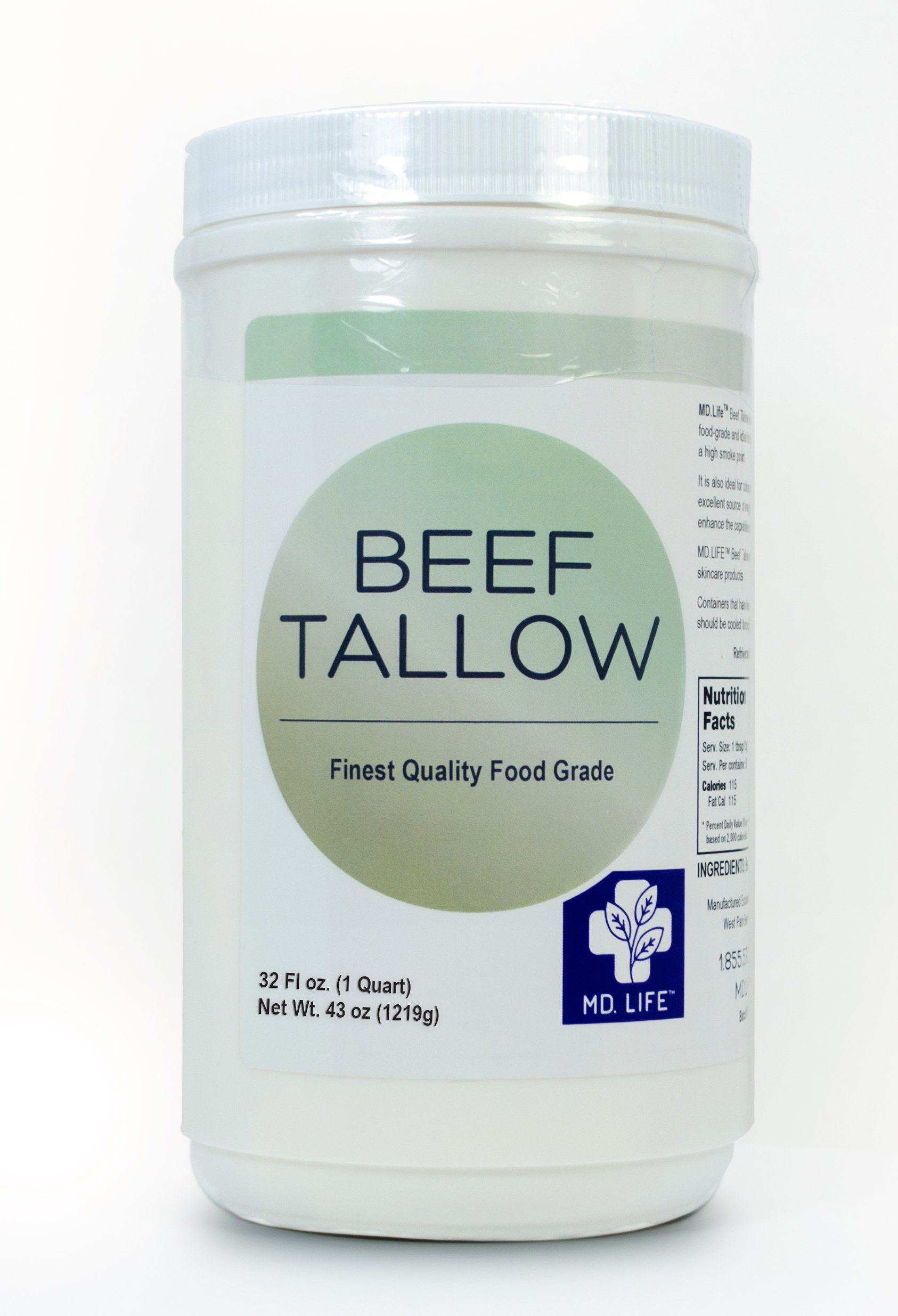 Save $$ MD.LIFE Beef Tallow - 32oz Compare to Beef Tallow, Grass-Fed, Kettle Rendered and Fine Filtered, (1 Pack)