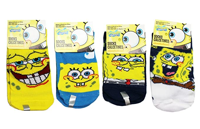 Spongebob Squarepants Assorted Color/Facial Expression Socks (Size 4-6, 3 Pairs