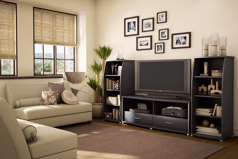 Amazon.com: South Shore Furniture City Life Collection Bookcase, Pure  Black: Kitchen U0026 Dining