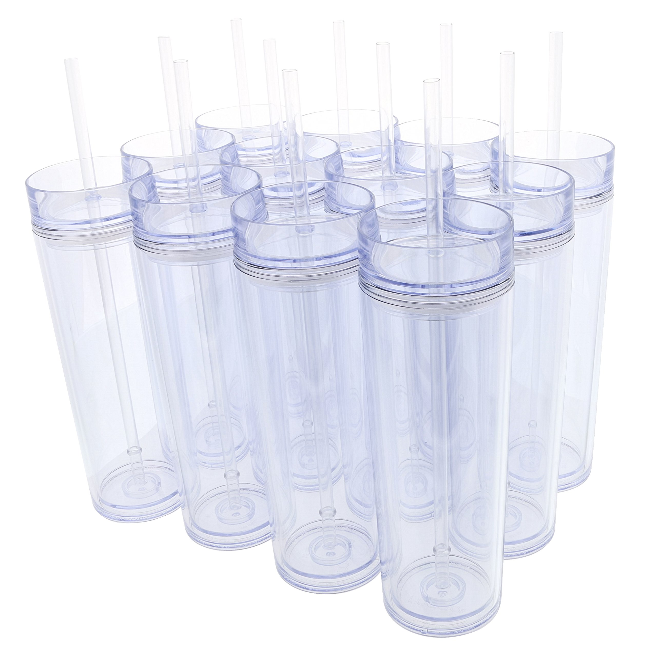 Set of 12 Double Wall Skinny Acrylic Tumblers 16 Oz, with Straws (Clear)