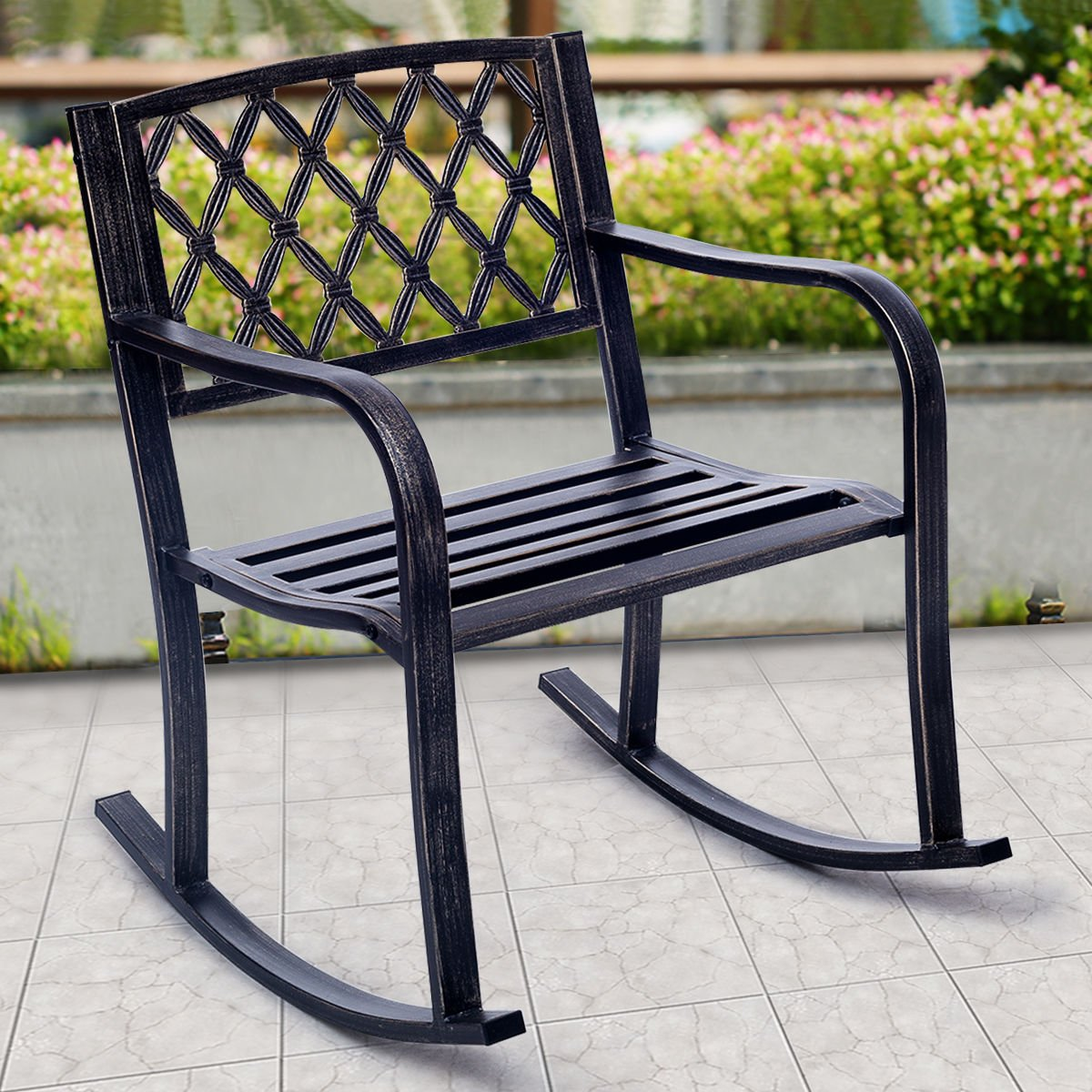 Giantex Patio Metal Rocking Chair Porch Seat Deck Outdoor Backyard Glider Rocker, Bronze