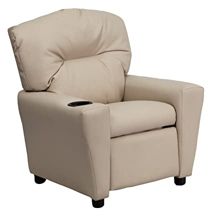 Beau Flash Furniture Contemporary Beige Vinyl Kids Recliner With Cup Holder